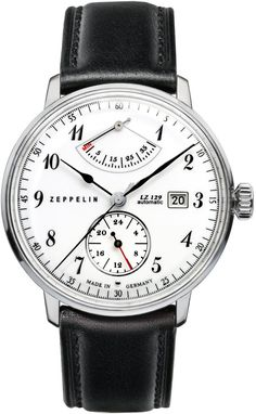 Zeppelin Watch Hindenburg #bezel-fixed #bracelet-strap-leather #brand-zeppelin #case-depth-12mm #case-material-steel #case-width-40mm #classic #date-yes #delivery-timescale-call-us #dial-colour-white #gender-mens #movement-automatic #official-stockist-for-zeppelin-watches #packaging-zeppelin-watch-packaging #power-reserve-yes #style-dress #subcat-hindenburg #supplier-model-no-7060-1 #warranty-zeppelin-official-2-year-guarantee #water-resistant-30m
