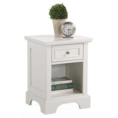 Home Styles 5530-42 Naples Night Stand, White Finish   Home Styles 5530-42 Naples Night Stand, White Finish The naples night stand is made of mahogany hardwood solids and engineered wood. Comes with multi step white finish including a clear coat finish to help protect against wear and tear stemming from normal use. Easy assembly. It include a storage drawer that measures 10-3/4-inch width by 10-3/4-inch depth by 4-inch height and open storage area that measures 12-inch width by 14-in..