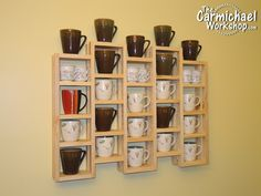 """Make a Coffee Mug Rack to hold your coffee cups and mugs. The openings are 6"""" wide and the height alternates between 4.5"""" and 5.5"""" to allow for different size mugs."""