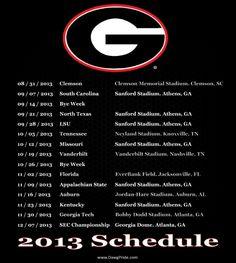 Georgia Bulldogs 2013 Football Schedule