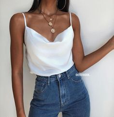 Outfits Blue Jeans, Tank Top Outfits, Outfit Jeans, Cute Casual Outfits, Summer Outfits, Cami Top Outfit, Camisole Outfit, Easy Outfits, Shirt Outfit