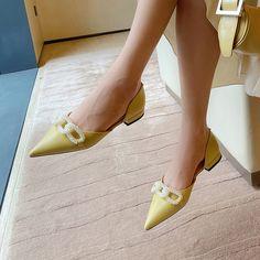 Shoes Heels Pumps, Kitten Heel Pumps, Men's Shoes, Pointed Toe Block Heel, Block Heels, Yellow Pumps, Embellished Shoes, Fashion Shoes, Women's Fashion