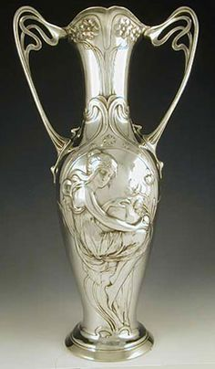 Art Nouveau Polished Pewter Maiden Vase, by WMF. ca.1906, Germany.