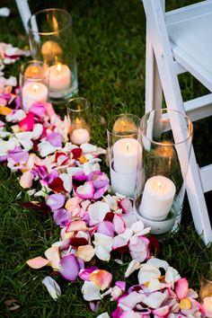 rose petal aisle | Chrisman Studios #wedding Aisle Flowers, Wedding Ceremony Flowers, Outdoor Flowers, Wedding Flower Decorations, Ceremony Decorations, Wedding Ideas, Trendy Wedding, Outdoor Decorations, Wedding Beach