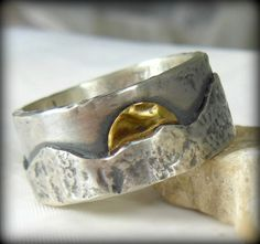 Mountain range silver and yellow gold wedding band, Mens Ring, unisex jewelry, custom made rustic sterling  and gold ring