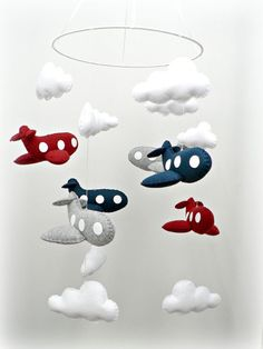 Airplane mobile - baby mobile - nursery decor - You pick your colors - crimson, navy, gray felt airplanes, white clouds