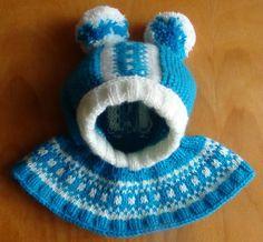Шапочка-шлем с жаккардовым узором. Cap-helmet with jacquard knitting pat...