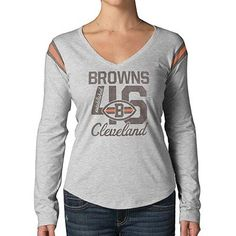 47 Brand Cleveland Browns Ladies Long Sleeve Touchdown T-Shirt - Gray  Fanatics a7f4ae28e