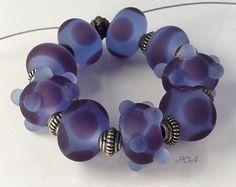 ROA Lampwork 9 Matte Blue Purple Designer Set Handmade USA Art Glass Beads SRA   eBay
