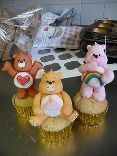 Care Bears on cupcakes