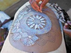 Renda de Bilros...Traditional Portuguese bobbin lace...