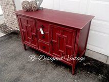 Red shabby chic dresser or buffet in Naperville, Illinois