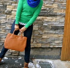 casual chic: green, blue and camel
