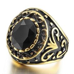 Men's Stainless Steel Ring Agate Gold Black Engraved Vintage