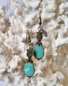 Antique Gold Owl Dangle Earrings with Czech by SmockandStone, $17.00