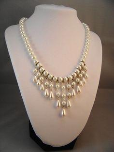 Elegant Pearl Cascade Necklace  #handmade  #thecraftstar  $65.00