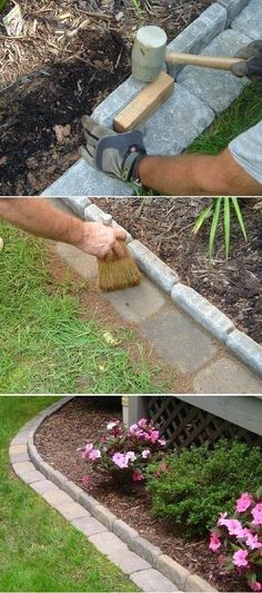 "#41 I really like this tutorial. I want this kind of flat stone edge, without the stones standing up, right in front of my fence clear around.  This just makes it all cleaner looking I think and keeps the dog from peeing on the fence!  ""Use cement or stone bricks to edge your garden — the lawn mower can cut right up to the edge! 