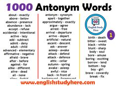 English 1000 Opposite / Antonym Words List, Opposites, Opposite Words about – exactly above – below absence – presence abundance – Opposite Words List, English Opposite Words, English Word Meaning, Learn English Words, English Study, Word Sentences, English Sentences, English Vocabulary Words, English Phrases