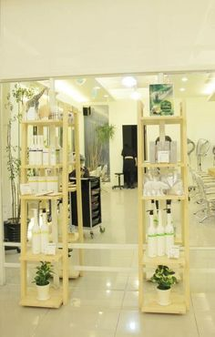 Green salon with O'right products! Singapore Malaysia, Ladder Decor, Shelving, Salons, Divider, Spaces, Room, Furniture, Products