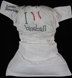 Touchtape Little Beasties cloth diaper - I <3 baseball (white)
