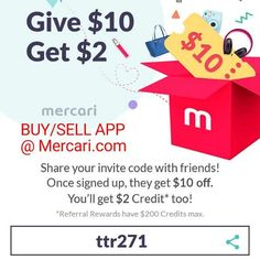 """BUY & SELL stuff!  Use """"ttr271"""" to sign up & get $10 FREE! Earn $2 for every friend you invite! https://www.mercari.com/dl/"""