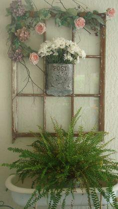 "Old ""Post"" box with flowers on old window. Old Window Crafts, Old Window Decor, Window Ideas, Recycled Door, Recycled Windows, Vintage Windows, Old Windows, Antique Windows, Window Pane Art"