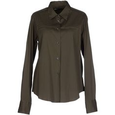Lareida Shirt ($135) ❤ liked on Polyvore featuring tops, military green, brown long sleeve shirt, green shirt, military fashion, long sleeve tops and shirts & tops