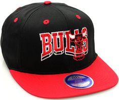 Chicago Bulls Flat Bill Block Wave Style Snapback Hat Cap Black Red NBA. $14.99