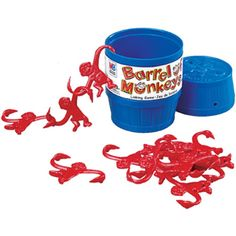 "Barrel of Monkeys is a toy game first created by Lakeside Toys in 1965. Today it is produced by the Milton Bradley Company within the Hasbro corporation. Milton Bradley's editions consist of a toy barrel in either blue, yellow, red, or green. The barrel contains 12 monkeys, their color usually corresponding to the barrel's color. The instructions on the bottom of the barrel state ""Dump monkeys onto table. Pick up one monkey by an arm. Hook other arm through a second monkey's arm... ."
