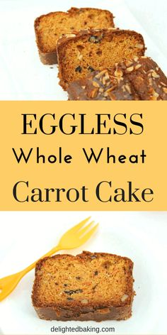 Eggless Whole Wheat Carrot Cake Easy & Simple whole wheat cake! This carrot cake is soft, super moist and full of flavor! egglessbaking egglesscakes is part of Carrot cake recipe healthy - Eggless Recipes, Eggless Baking, Healthy Recipes, Baking Recipes, Cookie Recipes, Dessert Recipes, Eggless Desserts, Healthy Desserts, Bread Recipes