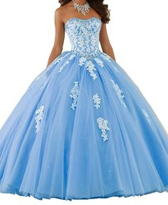 Beilite Womens Sweetheart Prom Long Dresses Quinceanera Gown With Crystal Sequins Sky Blue 2 -- To view further for this item, visit the image link. (This is an affiliate link) Quince Dresses, Ball Dresses, 15 Dresses, Cute Dresses, Ball Gowns, Bridesmaid Dresses, Wedding Dresses, Pretty Quinceanera Dresses, Pretty Prom Dresses