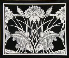 X Brush and Ink Art Nouveau Fish and Lily Design for repeat border on Strathmore Illustration Board. I used to make up exercises for me to do in. Art Nouveau Fish and Lily Art Nouveau Tattoo, Tatuagem Art Nouveau, Tattoo Art, Art And Illustration, Illustrations, Art Nouveau Pattern, Art Nouveau Design, Pattern Art, Toddler Art Projects