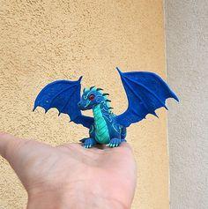 Blue dragon figurine fantasy animal dragon от ViaLatteaArt на Etsy