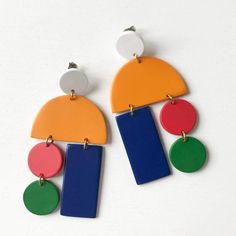 Water Buffalo, Diy Earrings, Clay Jewelry, Gold Hardware, Horns, Dangles, Orange Red, Red Green, Blue