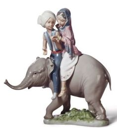 SALE-Lladro-Porcelain-HINDU-CHILDREN-010-05352-Worldwide-Shipping Indian Dolls, Indian Elephant, Collectible Figurines, Baby Clothes Shops, Sculpture, Vintage, Antiques, Children, Animals