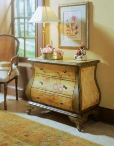 Hand-painted golden honey and celery Bombay chest