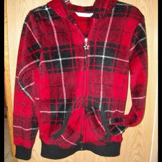 Really soft plaid hoodie - like new! Red, black & white plaid zip-up hoodie - really soft, warm, and comfortable! Cute star zipper pull. Like new condition! Derek Heart Jackets & Coats