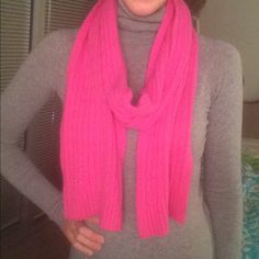 J. Crew Cable Knit Cashmere Scarf A cheery bright scarf for cold days! So soft and very warm. In great condition. J. Crew Accessories Scarves & Wraps