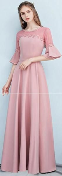 803c67929298 Dusty Pink Floor Length Mismatched Simple Cheap Bridesmaid Dresses Online,  WG518