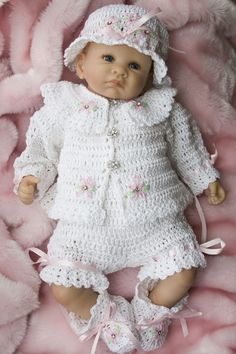 "Ensemble bébé ""Cheryls Crochet Dasiy Baby Layette 03 by cherylscrochet,"", ""This is one of my new and original designs. Made with Paton's Grace cotton. Crochet Girls, Crochet Bebe, Crochet For Kids, Crochet Pattern, Crochet Coat, Baby Doll Clothes, Crochet Baby Clothes, Baby Kind, Baby Love"