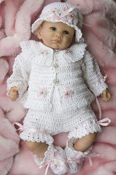 Cheryls Crochet  CC47-Sweet Dasiy Baby Layette 0-3 Months Pattern PDF