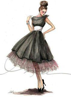 New fashion drawing dresses sketches moda ideas Fashion Illustration Sketches, Illustration Mode, Fashion Sketches, Design Illustrations, Clothing Sketches, Moda Fashion, Trendy Fashion, Fashion Models, Vintage Fashion