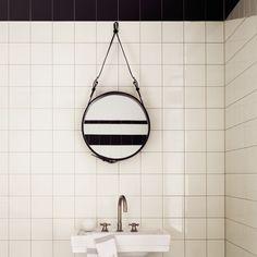 Gubi Adnet Mirror with leather strap, brass sink
