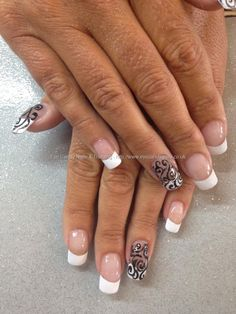White+French+polish+with+black+swirl+freehand+nail+art