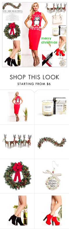 """""""Red Multi Print Sleeveless Ugly Christmas Dress"""" by lollicouture ❤ liked on Polyvore featuring NEOM Organics, Meri Meri, Improvements, Glory Haus, women, holidaystyle, uglychristmassweater and lollicouture"""