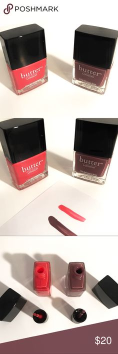Butter London Nail Polish Toff - 0.4 fl oz (dark purple) $15 and Macbeth -0.4 fl oz (hot pink) $15 . Get both for the price of one!! Price is firm since it was never used and cannot buy 1 separate. Butter London Nail Polish Makeup