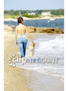 """Clipart.com Closeup   Royalty-Free Image of person, female, woman, walking, strolling, beach, sea, ocean, sand, vacation, relaxing, summer, summertime, shore, wading, back, behind, """"rear view"""", water, outdoors, outside"""