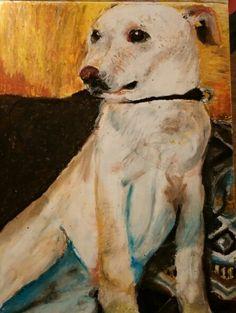 Oil Pastel Portrait of My Dog Filbert