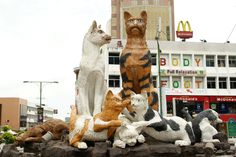 Cat statue in Kuching Malaysia where cats are queen.