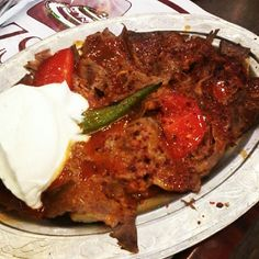 Absolutely the most delicious piece of the symbols of Bursa. Yoghurt with red veal...yummy!